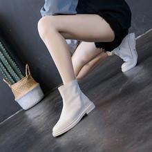 港风uluzzangin020秋冬新式女靴粗跟短靴平底真皮马丁靴女单靴