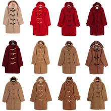 羊毛中lu式大衣VIinGE女式女士女式古着甜美 浅色系双面绒牛角扣