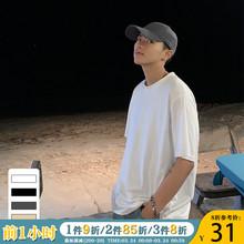 ONEluAX夏装新in韩款纯色短袖T恤男潮流港风ins宽松情侣圆领TEE