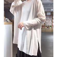 纸片的lu领大T恤 in懒柔软垂感针织棉长袖T裙中长式T恤T7165