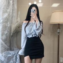 高腰包lu裙2019an开口弹力紧身一步裙黑色包裙(小)性感半身裙女