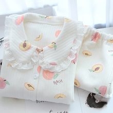春秋孕lu纯棉睡衣产ui后喂奶衣套装10月哺乳保暖空气棉