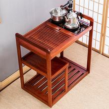 茶车移lu石茶台茶具ei木茶盘自动电磁炉家用茶水柜实木(小)茶桌