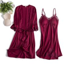 向娜睡lu女秋冬薄式ng吊带睡裙睡袍两件套带胸垫新娘晨袍红色
