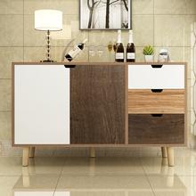 北欧餐lu柜现代简约mi客厅收纳柜子省空间餐厅碗柜橱柜