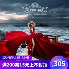 影楼主lv服装红色大93拍照婚纱海边外景摄影情侣写真旅拍礼服