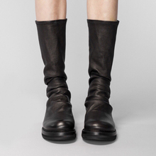 [lvn9]圆头平底靴子黑色鞋子女2