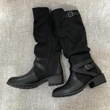 欧洲站lv闲侧拉链百ya靴女骑士靴2020冬季皮靴大码女靴女鞋