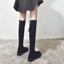 长筒靴lw过膝高筒显ji子长靴2020新式网红弹力瘦瘦靴平底秋冬