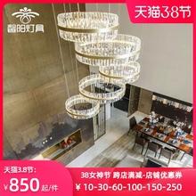 复式楼lw吊灯别墅挑qc客厅灯楼梯长后现代简约大气时尚水晶灯