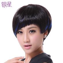 短发女lw发时尚挑染qc套BOBO头个性斜刘海修脸蓬松女生个性潮