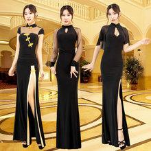 黑色旗lw改良款连衣oe021新式复古中式时尚年轻式性感长裙定制