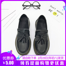202lw春秋季新式zy院风复古流苏(小)皮鞋学生牛筋平底低跟单鞋女