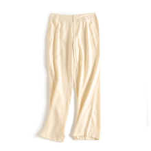 新式重lx真丝葡萄呢rl腿裤子 百搭OL复古女裤桑蚕丝 米白色