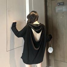 砚林2ly21春秋新hq大码女装上衣连帽露背性感宽松卫衣气质新品