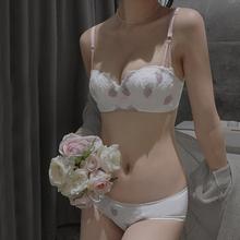 薄式少ly内衣套装(小)go无钢圈学生bra无肩带防滑调整文胸夏季