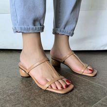 夏季米白色女鞋中跟凉拖鞋外穿大码ly13鞋女4yc码鞋女313233 YM