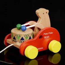 宝宝学lz拉车玩具推fr敲鼓车(小)孩玩具婴儿 男孩女孩0-1-2-3岁
