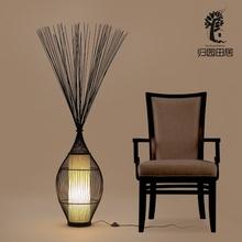 日式落lz灯禅意落地lq客厅沙发角落装饰地灯原木竹编立式台灯