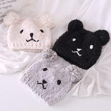 (小)熊可lz月子帽产后mf保暖帽时尚加厚防风孕妇产妇帽毛绒帽子