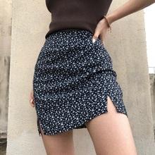 BM2lz20新式(小)mf式复古高腰(小)开叉半身裙碎花防走光包臀裙短裙