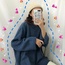毛衣女lz020新式mf秋冬韩款纯色开叉长袖针织衫宽松加厚上衣潮
