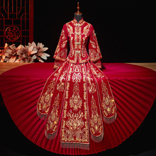 秀禾服lz娘2020mf瘦中式婚纱结婚嫁衣女敬酒服新娘出阁礼服