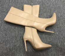 202lz秋冬新品长mf牛皮尖头细跟时装靴侧拉链修腿高筒靴女靴子