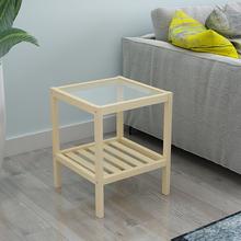 inslz北欧简约实fb钢化玻璃沙发边几方桌简易(小)桌子床头柜