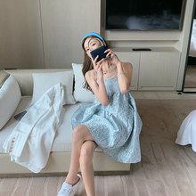 苏(小)花lz带蓬蓬裙女py0夏季新式可爱复古气质浮雕印花露肩连衣裙