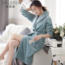 睡袍女lz秋冬季珊瑚yf加长式法兰绒浴袍冬式保暖睡衣性感浴衣