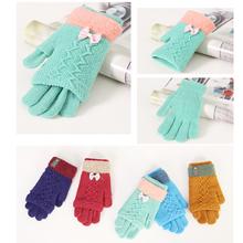 (小)学生lz天手套加厚yf线手袜宝宝针织可爱时尚五指女孩子男生