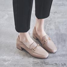 粗跟中lz单鞋女20yf新式金属扣英伦复古时尚柔软舒适豆豆鞋两穿