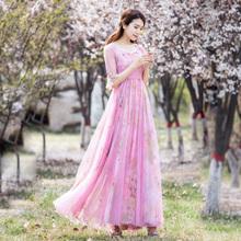 莎点高m0(小)碎花复古0z衣裙中袖长式夏高腰显瘦超仙女公主长裙
