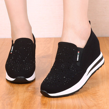 春秋式m8北京布鞋内8w鞋厚底坡跟水钻休闲女单鞋乐福鞋松糕鞋