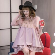 毛衣 ma冬式欧货洋pd肩毛针织毛线蕾丝女甜美2件套大摆连衣裙
