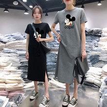 网红imas短袖连衣ri大码开叉超a米奇T恤裙潮百搭宽松过膝长裙