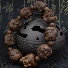 越南皮ma木沉香木雕ul罗汉貔貅佛珠男女式手串黑檀乌木手链
