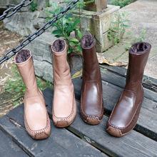 真皮女ma子中筒20he式原创手工鞋 厚底加绒女靴复古羊皮靴潮ins