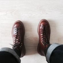 阿美咔ma英伦风复古hu皮短靴子男真皮高帮休闲工装马丁鞋女潮