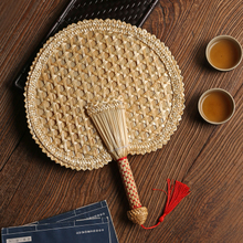 麦秸扇子手工ma3织老式大d2团扇草编夏季宝宝随身古典中国风