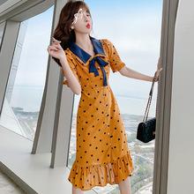 坚果服ma 韩国东大to2021夏季新式娃娃领中长裙子显瘦连衣裙