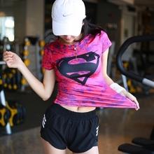 超的健ma衣女美国队to运动短袖跑步速干半袖透气高弹上衣外穿