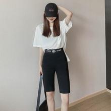 高腰单ma裤中裤20de女式弹性棉字母腰短裤显瘦口袋提臀打底外穿
