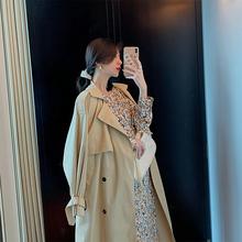 YUQma卡其色风衣ba21年春季流行气质英伦风长式翻领宽松外套大衣