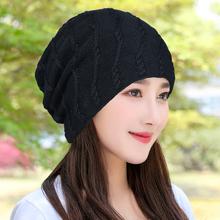 秋冬帽ma女士加绒毛he搭堆堆帽加厚针织帽时尚套头帽包头帽男