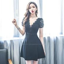 大码性ma夜店连衣裙es新式夏女装蕾丝洋气低胸V领显瘦夜店A字裙