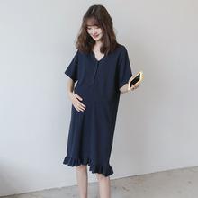 孕妇装ma装T恤长裙at闲式 气质显瘦可哺乳衣服夏季连衣裙潮妈