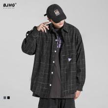 BJHG春季格子衬衫男士潮牌港风宽ma14OVEat磨毛黑色长袖衬衣外套