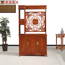 玄关柜ma猬紫檀酒柜rs梨中式古典雕花红木双面餐客间厅隔厅柜